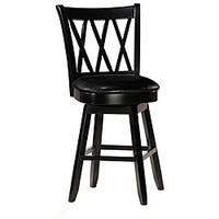 Jasna Wood Black Leather Counter-height Stool