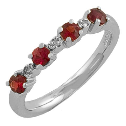 Fremada Sterling Silver Red Sapphire and Diamond Accent Ring