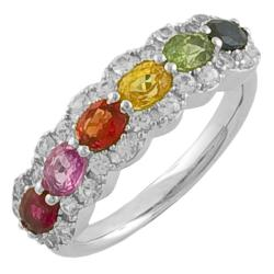 Fremada Sterling Silver Multi-colored Sapphire Ring