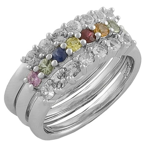 Fremada Sterling Silver Multicolor Sapphire Stackable 3-piece Ring Set