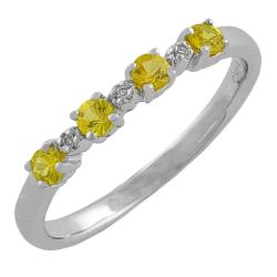 Fremada Sterling Silver Yellow Sapphire and Diamond Accent Ring