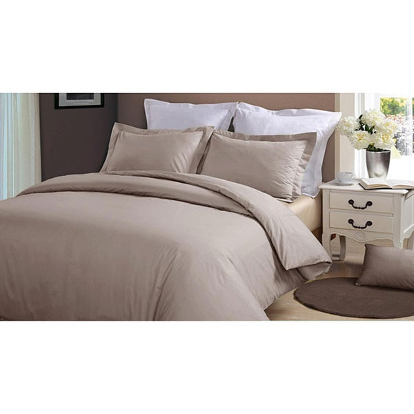 Hotel Grand 1000 Thread Count Taupe Sateen Full/ Queen-size Duvet Cover Set