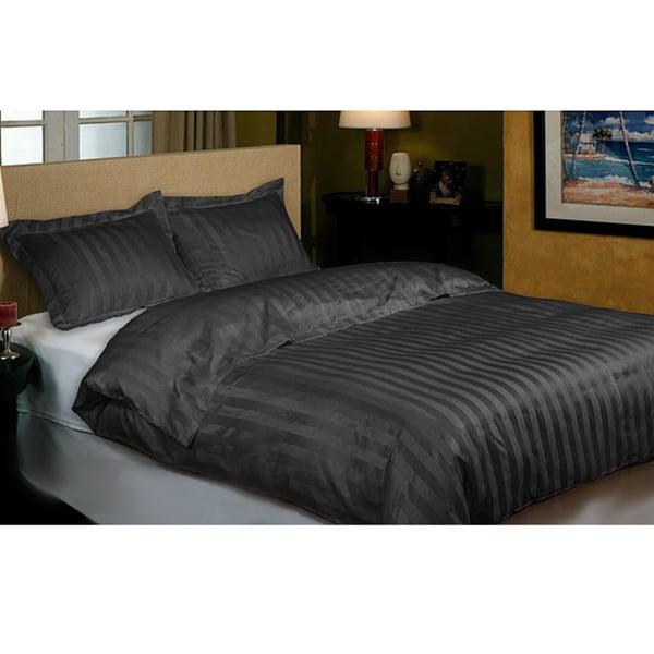 Hotel Grand 800 Thread Count Black Cabana Stripe Duvet Cover Set