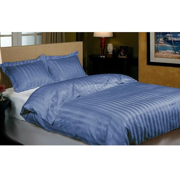 Hotel Grand 800 Thread Count Indigo Blue Cabana Stripe Duvet Cover Set