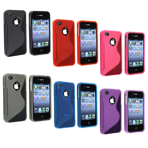 INSTEN Black 'S' Shaped TPU Rubber Phone Case Cover for Apple iPhone 4