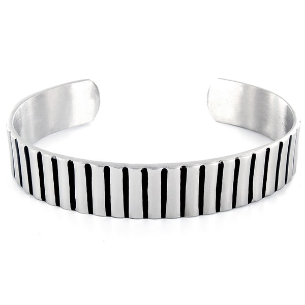 West Coast Jewelry Stainless Steel Black Plated Groove Cuff Bracelet