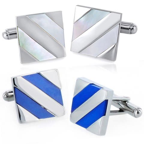 Men's Stainless Steel Diagonal Stripe Inlay Cuff Links - N/A