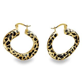 Stainless Steel Leopard Spot Hoop Earrings