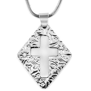 West Coast Jewelry Stainless Steel Brushed and Polished Cross Center Engraved Necklace