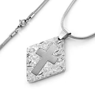 West Coast Jewelry Stainless Steel Brushed and Polished Cross Center Engraved Necklace https://ak1.ostkcdn.com/images/products/5330580/P13135299.jpg?impolicy=medium