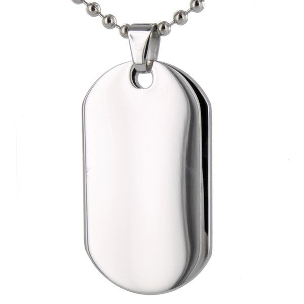 West Coast Jewelry Stainless Steel Polished Dog Tag Necklace