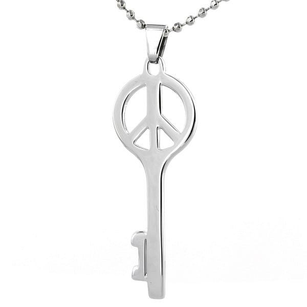 Elya Designs Stainless Steel Peace Sign Key Necklace