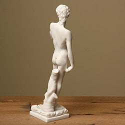 White Bonded Marble Michelangelo's David Statue - Thumbnail 1