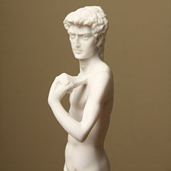 White Bonded Marble Michelangelo's David Statue - Thumbnail 2