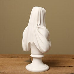 White Bonded Marble Weeping Virgin Mary Bust - Thumbnail 1