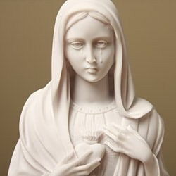 White Bonded Marble Weeping Virgin Mary Bust - Thumbnail 2