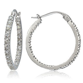 Icz Stonez Sterling Silver Inside-out Cubic Zirconia Hoop Earrings