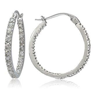 Icz Stonez Sterling Silver Inside-out Cubic Zirconia Hoop Earrings