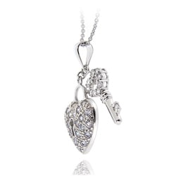 Icz Stonez Sterling Silver Cubic Zirconia Heart Key Necklace - Thumbnail 1