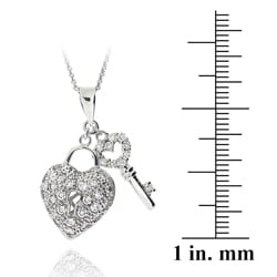 Icz Stonez Sterling Silver Cubic Zirconia Heart Key Necklace - Thumbnail 2