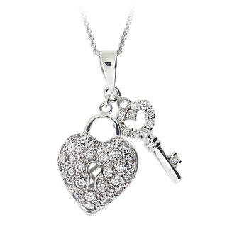 Link to Icz Stonez Sterling Silver Cubic Zirconia Heart Key Necklace Similar Items in Necklaces