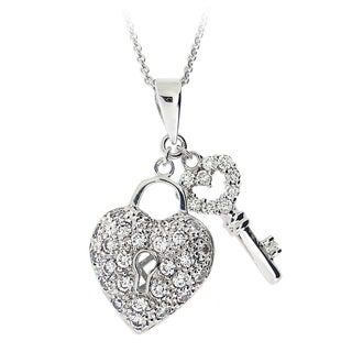 Icz Stonez Sterling Silver Cubic Zirconia Heart Key Necklace