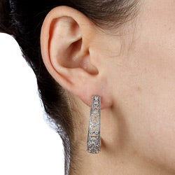 Sterling Silver 1/4ct TDW Diamond Filigree Earrings  By Ever One (H-I, I2)