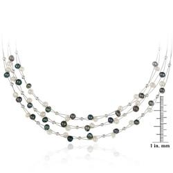 Glitzy Rocks Sterling Silver Peacock/ White Freshwater Pearl 3-row Bib Necklace (4-4.5 mm)