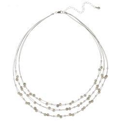 Glitzy Rocks Sterling Silver Grey Freshwater Pearl 3-row Necklace (4-4.5 mm)