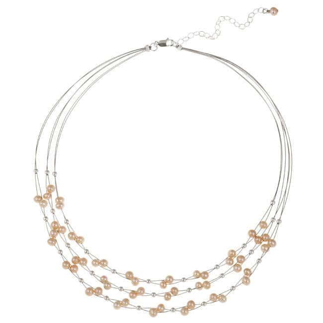 Glitzy Rocks Sterling Silver Pink Freshwater Pearl 3-row Necklace (4-4.5 mm)