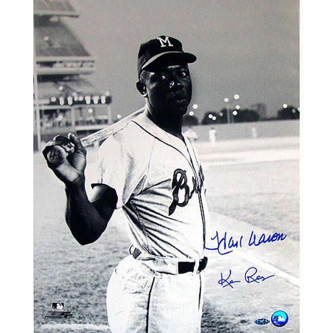 Milwaukee Braves Uniform Hank Aaron at Shea Stadium Autographed Photo by Ken Regan