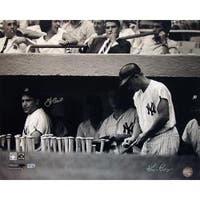 Yogi Berra in Dugout w/ Roger Maris Signed by Berra and Ken Regan Photo