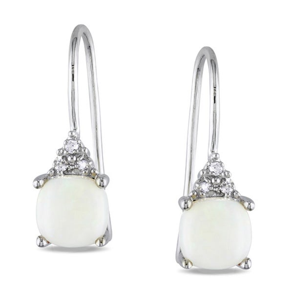 Miadora 10k White Gold Opal and Diamond Earrings