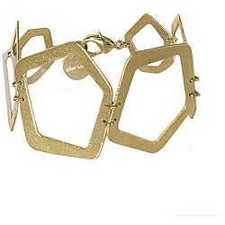 Adee Waiss 18k Yellow Gold Overlay Cutout Geometric Bracelet