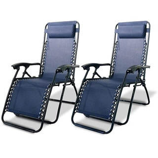 Caravan Canopy Blue Zero-Gravity Chairs (Set of 2)