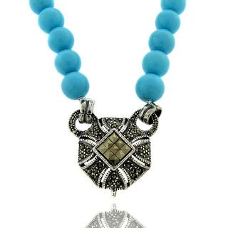 Dolce Giavonna Sterling Silver Marcasite and Synthetic Turquoise Necklace