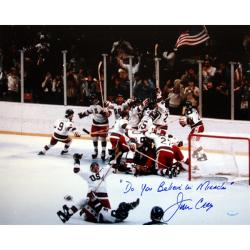 Steiner Sports Jim Craig 1980 USA Photograph w/ 'Do You Believe in Miracles?' Inscription - Thumbnail 0