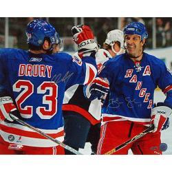 New York Rangers Chris Drury/Brendan Shanahan Dual Signed Celebration Photo - Thumbnail 0