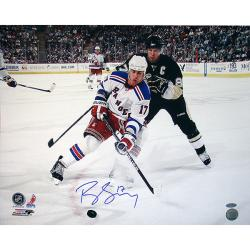 Steiner Sports Brandon Dubinsky Rangers White Jersey Controlling The Puck Photograph - Thumbnail 0