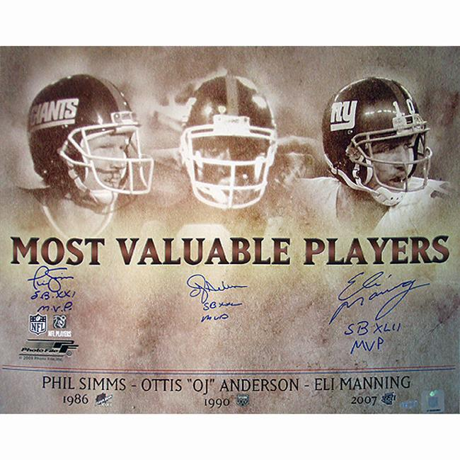 Steiner Sports OJ Anderson/ Eli Manning/ Phil Simms Signed MVP Collage