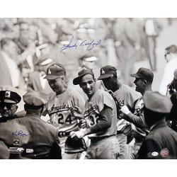 Sandy Koufax Celebrating w/ Teammates B/W 16x20 Autographed Photo by Ken Regan - Thumbnail 0