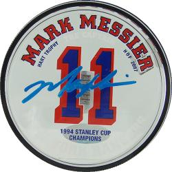 Steiner Sports Mark Messier Rangers Acrylic Stat Autographed Puck - Thumbnail 0