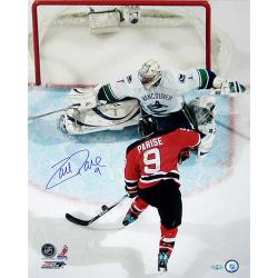 Zach Parise Overhead Shot vs Vancouver Vertical 16x20 Autographed Photo