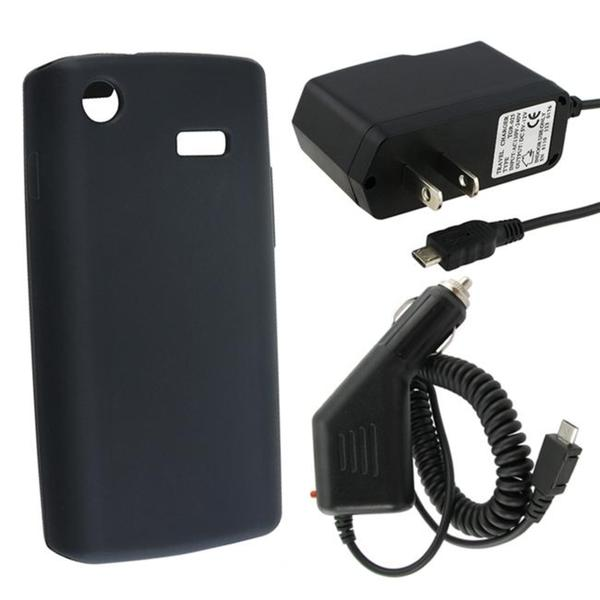 INSTEN Black Phone Case Cover/ Car Charger for Samsung i897 Captivate