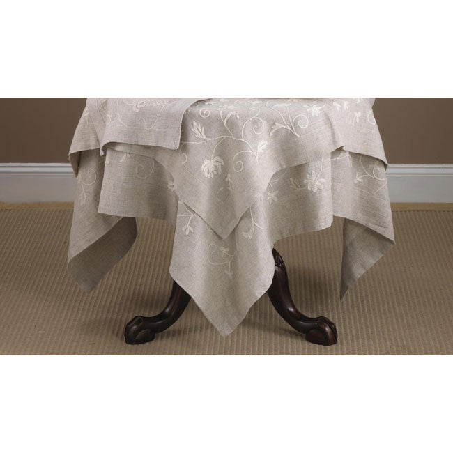 Crewel Work Square Embroidered Natural Tablecloth