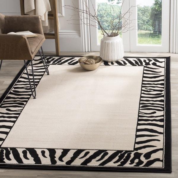 Safavieh Lyndhurst Contemporary Zebra Border Black/ White Rug (8' 11 x 12' RECTANGLE)