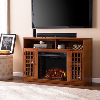 Harper Blvd Branick Glazed Pine Media Console Fireplace