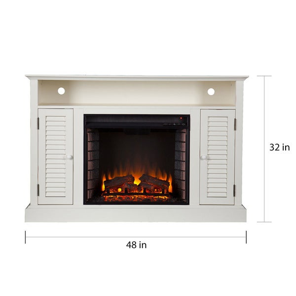 Harper Blvd Herschel Antique White Media Console Fireplace - Free ...