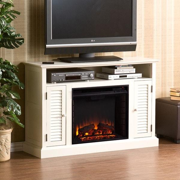 Harper Blvd Herschel Antique White Media Console Fireplace