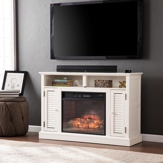 Copper Grove Arendsee Antique White Media Console Fireplace